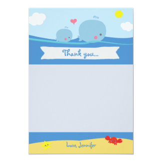 Whales Under the Sea Shower Thank You Card