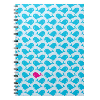 Whales Whales pink one Spiral Notebook