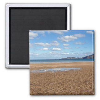 Whangapoua Beach at Low Tide, New Zealand Square Magnet