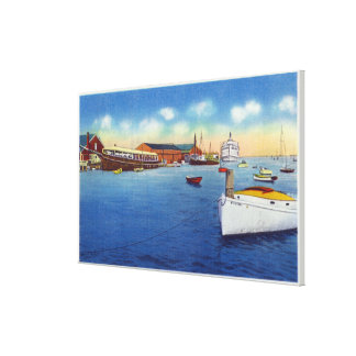 Wharf Scene Showing the Skipper Ship Gallery Wrapped Canvas