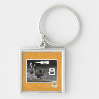whassup, George? Silver-Colored Square Key Ring