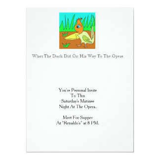 What A Duck Did On His Way To The Opera 17 Cm X 22 Cm Invitation Card
