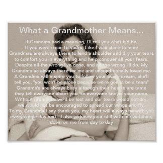 What a Grandmother Means, Rememberance  Poem Poster