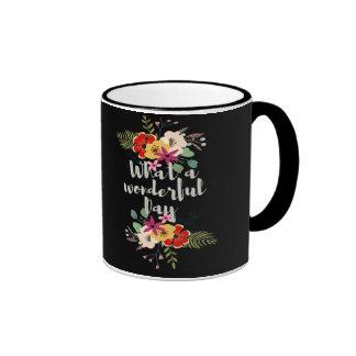 What-a-wonderful day Black 11-oz Ringer Coffee Mug