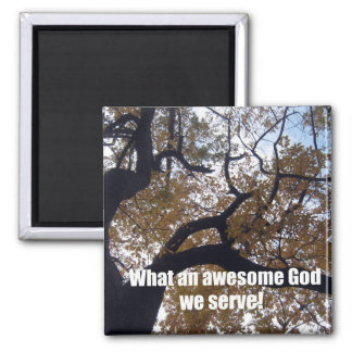 What an awesome God we serve Autumn scene Magnets