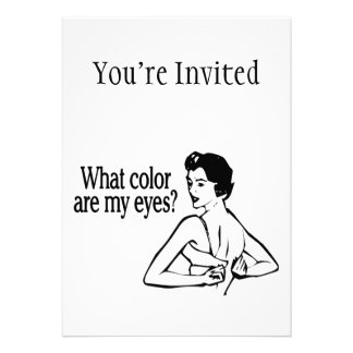 What Color Are My Eyes Retro Personalized Invitations