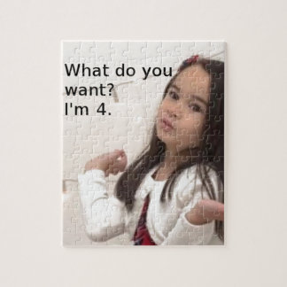 """""""What Do You Want? I'm 4."""" Customizable Kid Photo Jigsaw Puzzle"""