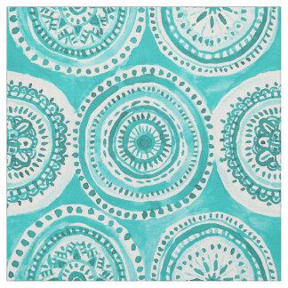 WHAT GOES AROUND Aqua Mandala Watercolor Fabric