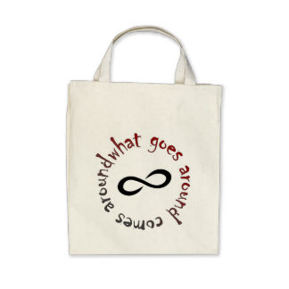 What goes around, comes around canvas bags