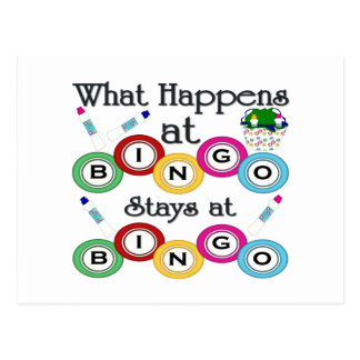What Happens at Bingo Postcard
