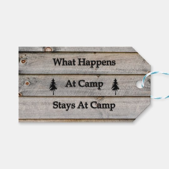 What happens at camp stays at camp gift tags