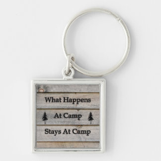 What happens at camp stays at camp Silver-Colored square key ring