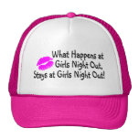 What Happens At Girls Night Out Stays At Girls Nig Mesh Hats
