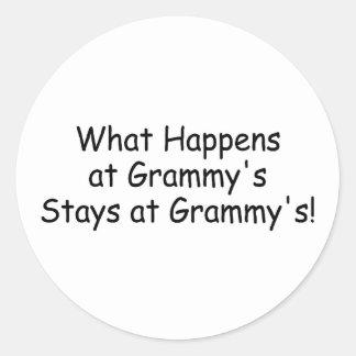 What Happens At Grammy Black Round Sticker