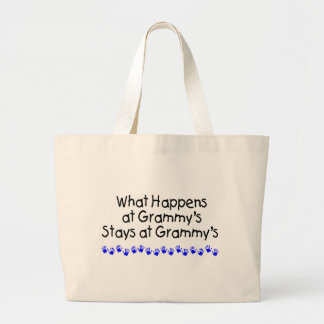 What Happens At Grammys With Blue Handprints Large Tote Bag