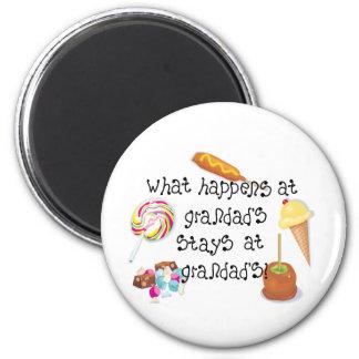 What Happens at Grandad's STAYS at Grandad&ap 6 Cm Round Magnet