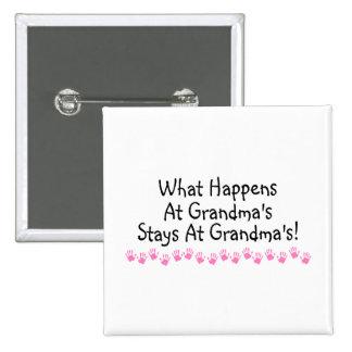 What Happens At Grandmas Stays At Grandmas 15 Cm Square Badge