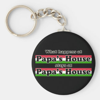 What Happens At Papas House For Dark Colors Basic Round Button Key Ring