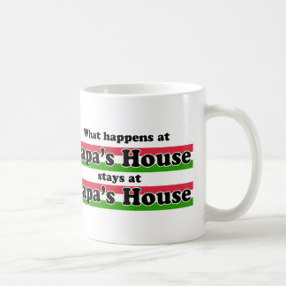 What Happens At Papas House Basic White Mug