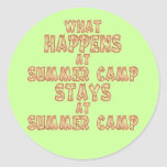 What Happens at Summer Camp Round Stickers