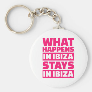 What happens in Ibiza stays in Ibiza Basic Round Button Key Ring