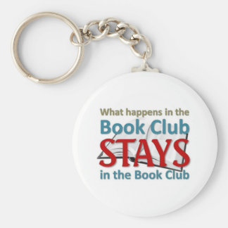 What happens in the book club basic round button key ring