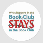 What happens in the book club round stickers