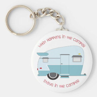 What Happens In The Camper Basic Round Button Key Ring