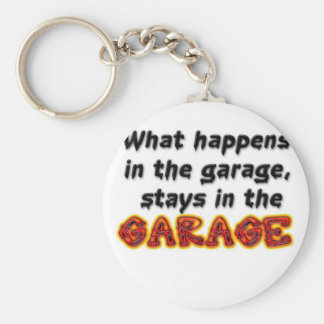 What Happens in the Garage Stays in the Garage Basic Round Button Key Ring