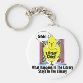 What Happens In The Library... Basic Round Button Key Ring