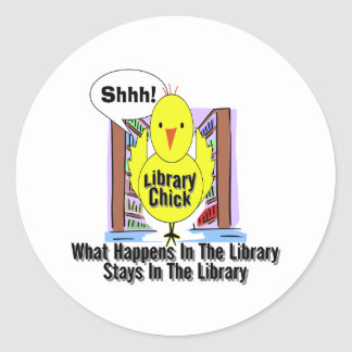 What Happens In The Library... Classic Round Sticker