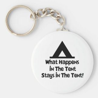 What Happens in the Tent... Basic Round Button Key Ring