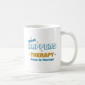 What happens in therapy basic white mug