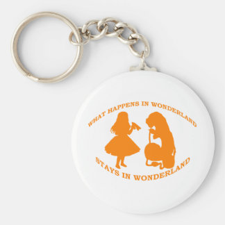 What Happens In Wonderland...Stays In Wonderland Basic Round Button Key Ring
