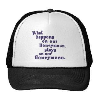 What Happens on our Honeymoon Trucker Hats