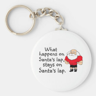What Happens On Santas Lap Stays On Santas Lap Basic Round Button Key Ring