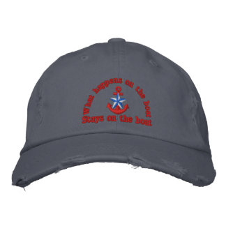 What happens on the boat blue star anchor embroidered hat