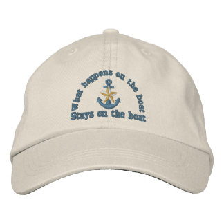 What happens on the boat humor golden star anchor embroidered cap