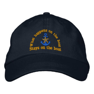 What happens on the boat humor star anchor embroidered hat