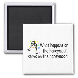 What Happens On The Honeymoon... Square Magnet