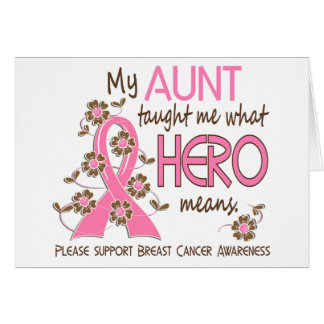 What Hero Means Breast Cancer Aunt Greeting Cards