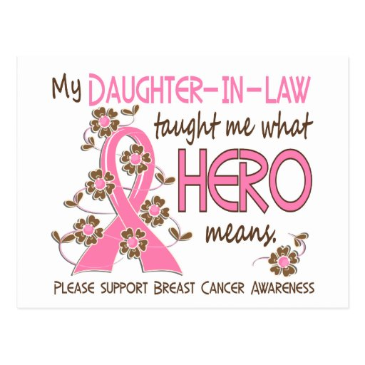 What Hero Means Breast Cancer Daughter-In-Law Postcards