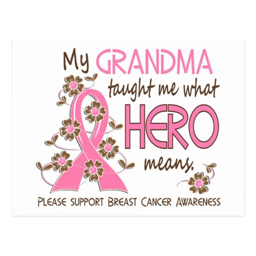 What Hero Means Breast Cancer Grandma Postcard