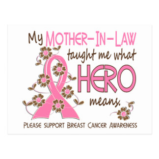 What Hero Means Breast Cancer Mother-In-Law Postcard