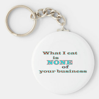 What I eat is NONE of your business Basic Round Button Key Ring