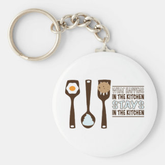 What In The Kitchen Stays In The Kitchen Basic Round Button Key Ring