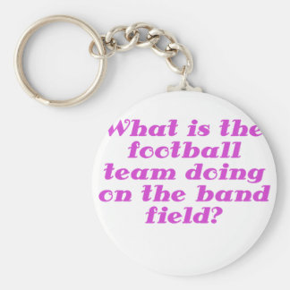 What is the football team doing on the band field keychains