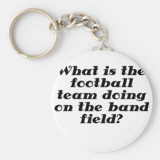 What is the football team doing on the band field keychain