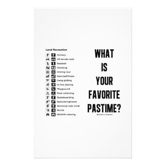 What Is Your Favorite Pastime? (Land Recreation) Customized Stationery
