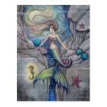 What Lies Beneath Mermaid and Seahorse Postcard